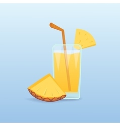Pineapple slices and fresh juice isolated vector image