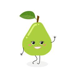 Pretty cartoon pear vector