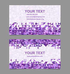 Purple triangle mosaic business card template vector