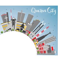 Quezon city philippines skyline with gray vector