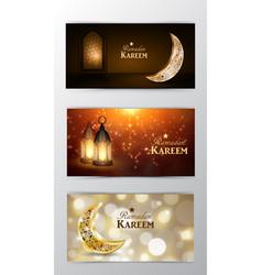 ramadan kareem greeting card banners set vector image