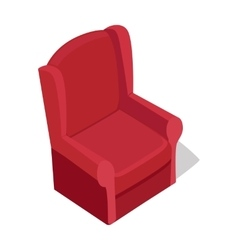 Red Armchair in Isometric Projection vector image
