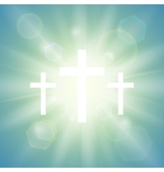 Religious background with three crosses vector