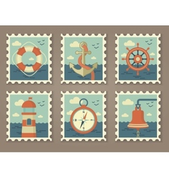 Retro marine stamps vector