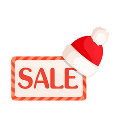 sale sign in rectangular frame with santa hat vector image
