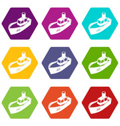 sea ship delivery icons set 9 vector image