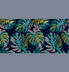 Seamless exotic pattern with tropical leaves vector