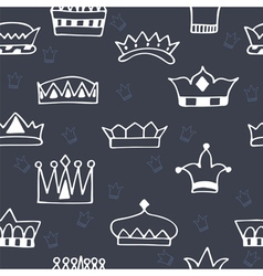 Seamless pattern with hand drawn crowns on dark vector