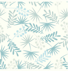 Seamless pattern with leaves in pastel blue colors vector