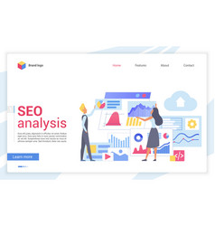 Seo analysis flat landing page template vector