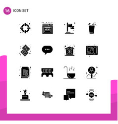Set 16 commercial solid glyphs pack for food vector