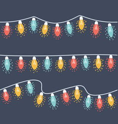 set colored garlands three strings lights vector image