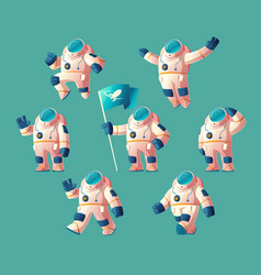 Set of cartoon spaceman moving cosmonaut vector