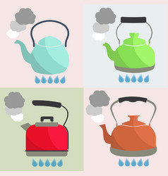 Set of kettle boils with water flat style vector