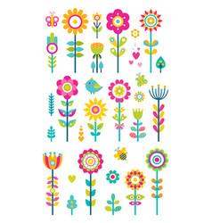 Set of springtime flowers bees butterflies birds vector