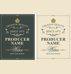Set of two wine labels with vine leaves vector