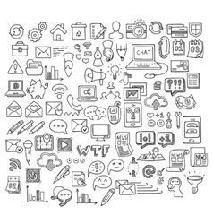 Set universal doodle icons variety topics vector