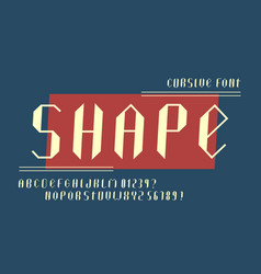 Shape cursive alphabet vector