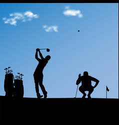 Silhouette golfers with bags in front green vector