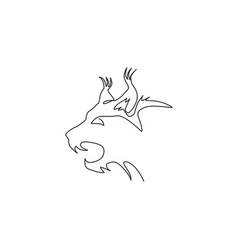 single one line drawing angry lynx cat head vector image