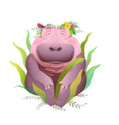 sitting hippopotamus in nature with flowers art vector image