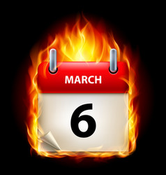 sixth march in calendar burning icon on black vector image