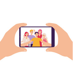 smartphone screen and people taking selfie flat vector image