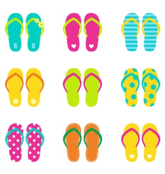 Summer flip flops set isolated on white vector image