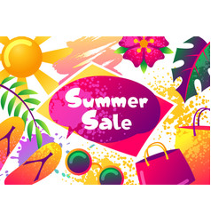summer sale banner with colorful elements sun vector image