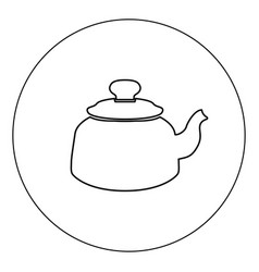 teapot icon black color in circle isolated vector image