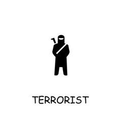 Terrorist flat icon vector