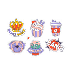 trendy cloth patches set cute colorful childish vector image