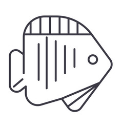 tropical fish line icon sign vector image