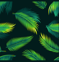 Tropical palm leaves - seamless realistic modern vector