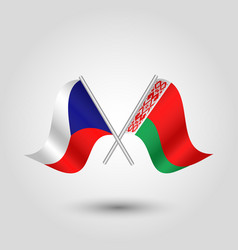 Two crossed czech and belarusian flags vector