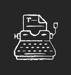 typewriter chalk white icon on black background vector image