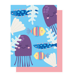 under sea jellyfishes fishes shell algae wide vector image