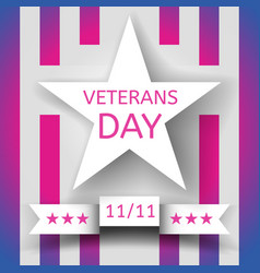Veterans day banner with a white star vector