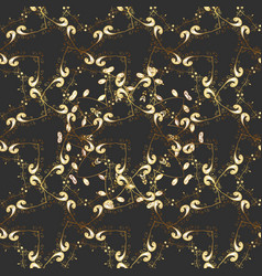 Vintage seamless pattern on a colors with golden vector