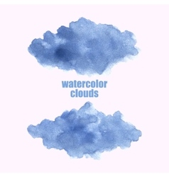 Watercolor cloud Blue clouds isolated on white vector image vector image