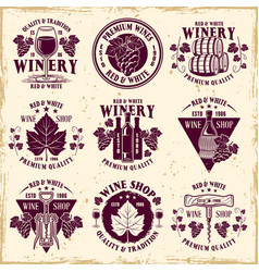 Wine shop and winery set nine emblems vector