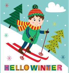 winter poster with boy skiing vector image
