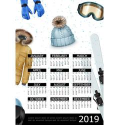 Winter sport 2019 year calendar poster vector