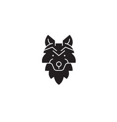 wolf head black concept icon wolf head vector image