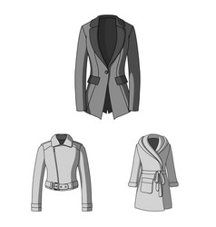 women s clothing monochrome icons in set vector image