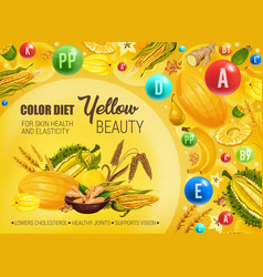 Yellow color food diet cancer prevention vector