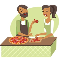 Young couple preparing pizza vector