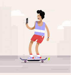 young man riding electric skateboard in city vector image