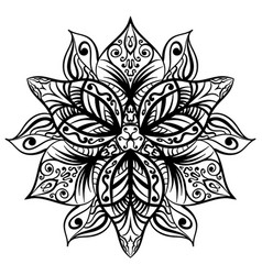 Zentangle style black flower sketch vector
