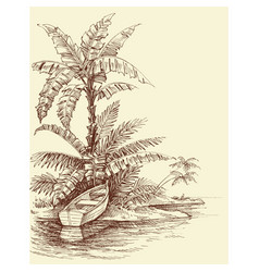 boat on shore tropical island drawing relaxation vector image